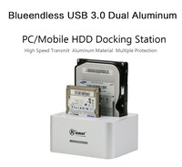 Aluminum Dual 2 bay USB3.0 To 6TB Sata External Portable HDD Box 2.5inch 3.5inch HDD Enclosures For Sata HDD Up To 6TB