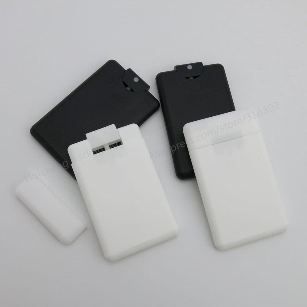 50 x 15ml 20ml Empty portable Cards Plastic Mist Sprayer Perfume Bottles White Black Colors Perfume
