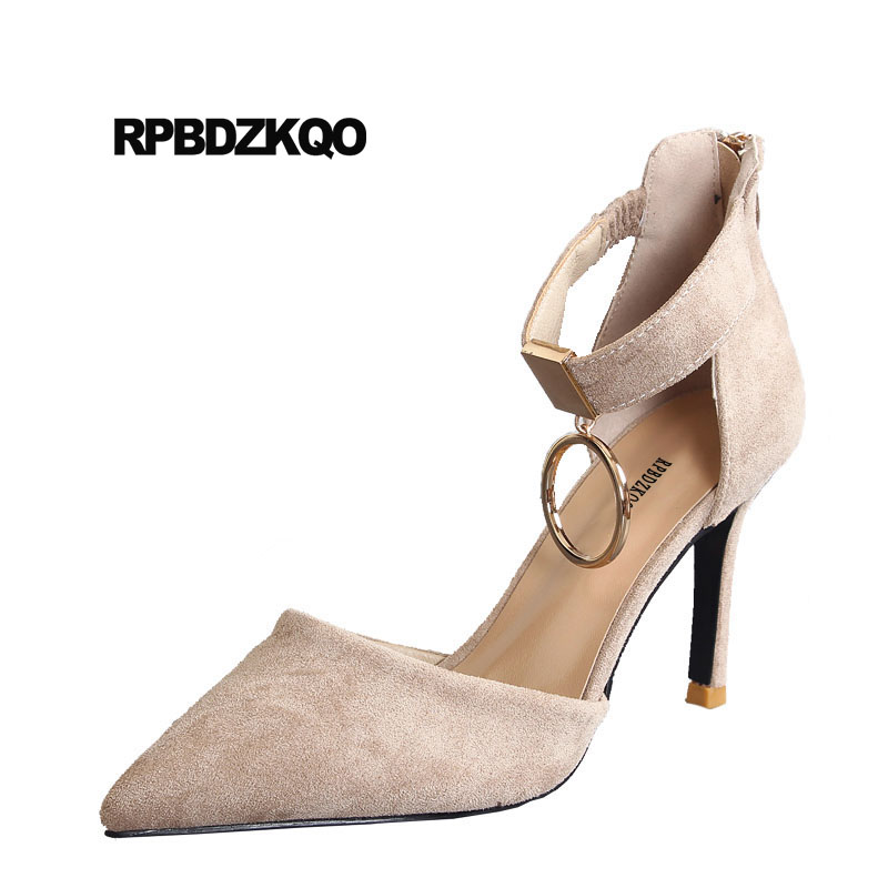 Designer Pointed Toe Pumps Ankle Strap Fashion Zipper Metal High Heels Stiletto Suede Luxury Brand Women Shoes 2018 Elegant ankle strap chunky elegant cool designer pointed toe pink high heels sandals women fashion 2018 summer shoes cross pumps closed