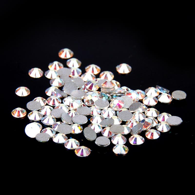 ss50 144pcs White Crystal AB Shiny Glue On Rhinestones Strass Non Hotfix Diamonds Glass Beads DIY Crafts Embellishments