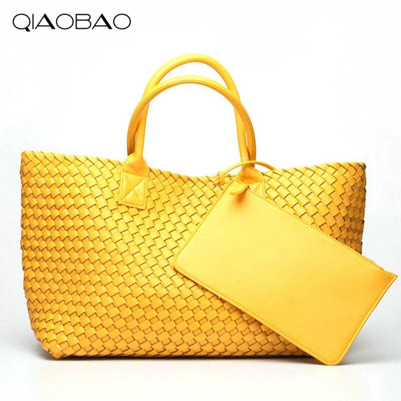 QIAOBAO Wallet Gift Bag Brand Quality Leather Women's Handbag Messenger Bag Vintage Large Capacity Handmade Weaving Totes цена
