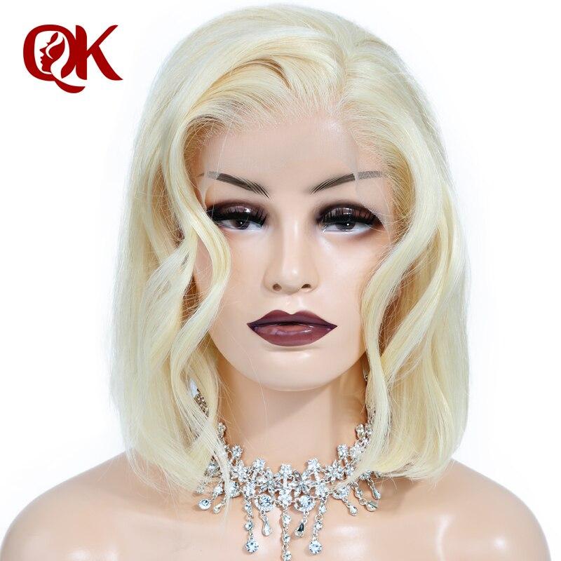 QueenKing волос Синтетические волосы на кружеве парик 180% платиновый блондин 613 боб парик шелковистая прямая бесплатная часть предварительно вы...