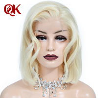 QueenKing волос Синтетические волосы на кружеве парик 180% платиновый блондин 613 боб парик шелковистая прямая бесплатная часть предварительно вы