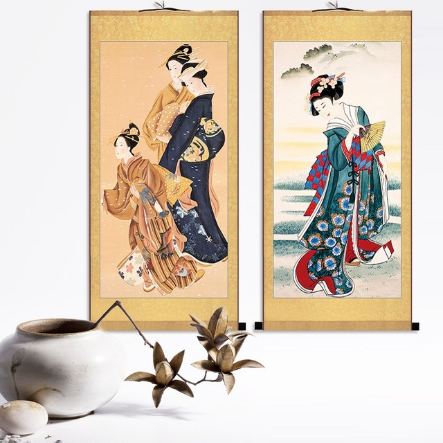 Us 35 67 Japanese Geisha Prints Japanese Scroll Painting Of Scrolls Japan Sukiyoe Poster Wall Art Canvas Livingroom Wall Hanging Decals 6 In