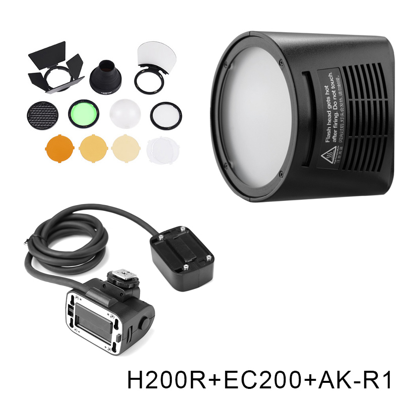 Godox AD200 V1 PRO Glash Accessory WITSTRO H200R Round Flash Head and EC 200 Extension Head