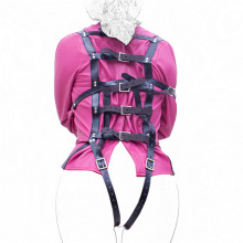 Fetish PU Leather Bondage Security Straitjacket with Crotch Strap