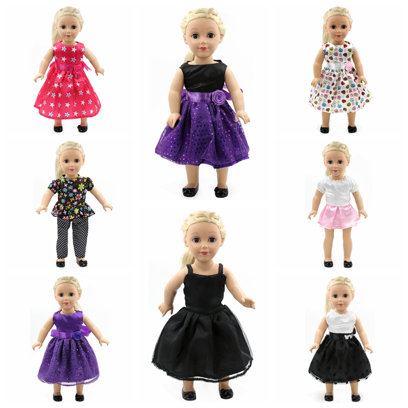 Doll Accessories American Girl Doll Clothes 15 Styles Princess Skirt Dress Suit for 16-18 inch Dolls Girl Best Gift  D1 1pcs white pink doll fashion dress for 18 inch dolls american girl doll clothes new style
