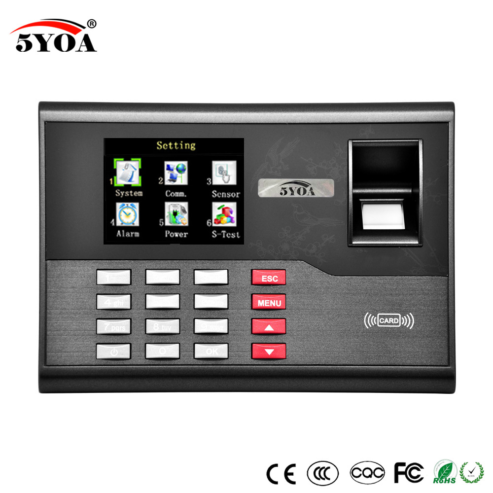 Biometric Fingerprint Time Attendance Clock Recorder Employee Digital Electronic English Reader Machine USB RFID ID Card
