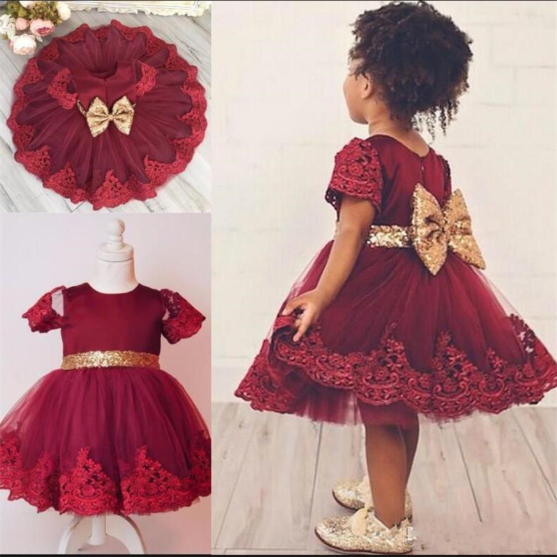 Cute   Girls   Birthday   Dress   with Sequined Bow and Sash Short Sleeves Knee-Length New Arrival   Flower     Girl     Dress   Any Size and Color