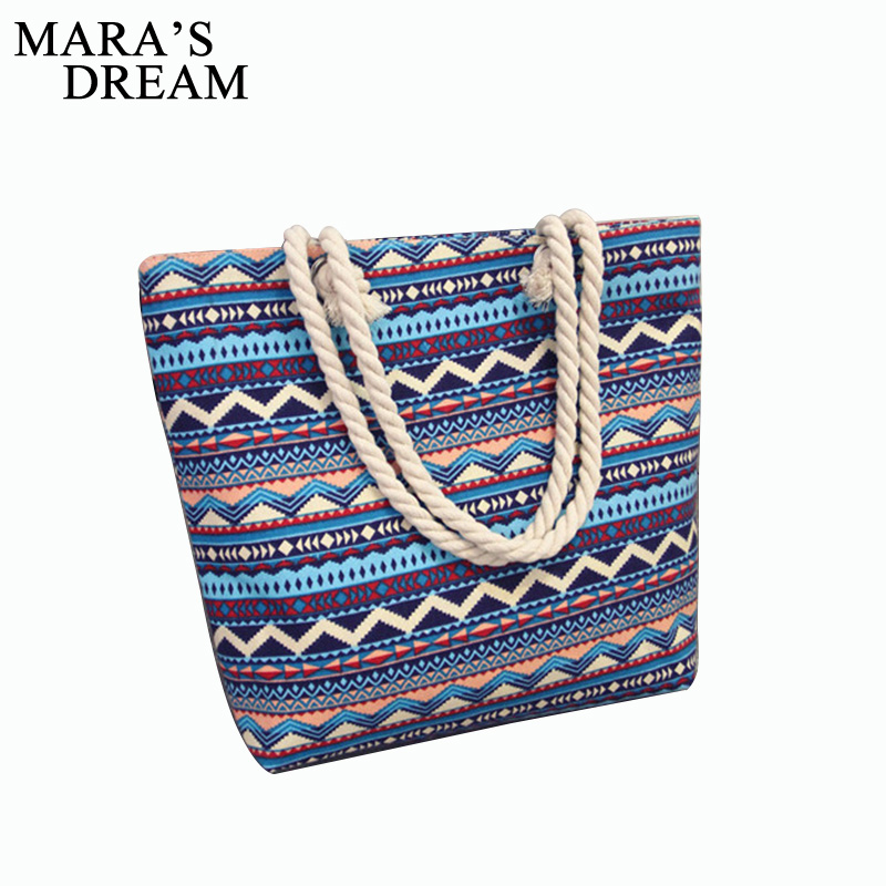Mara's Dream 2019 Women Bag Floral Large Capacity Tote Canvas Shoulder Bag Striped Waves Beach Bags Casual Tote Pouch Feminina