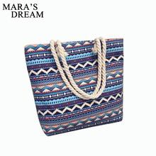 Mara s Dream 2020 Women Bag Floral Large Capacity Tote Canvas Shoulder Bag Striped Waves Beach