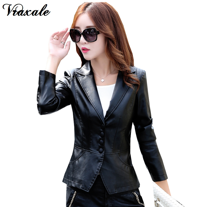 2017 Hitz ladies leather jacket Slim small suit female ...