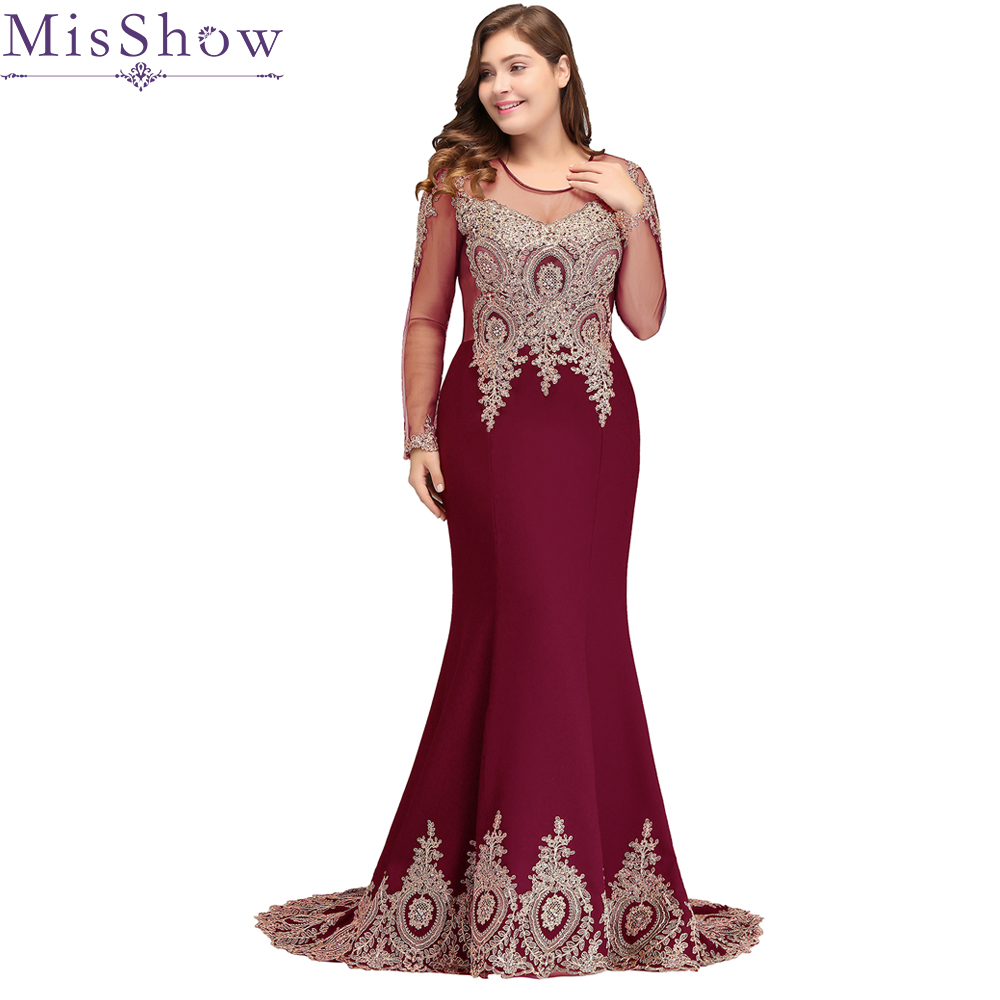 2019 Long Sleeves Applique Plus Size Evening Dress Mermaid Beads Arabic Muslim Women Formal Prom Evening