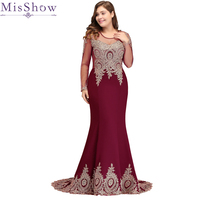 2019 Long Sleeves Applique Plus Size Evening Dress Mermaid Beads Arabic Muslim Women Formal Prom Evening Gowns Robe De Soiree