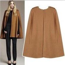 Doudoune UK осень/зима хаки черное шерстяное пальто-накидка пальто женское Модное пончо манто femme