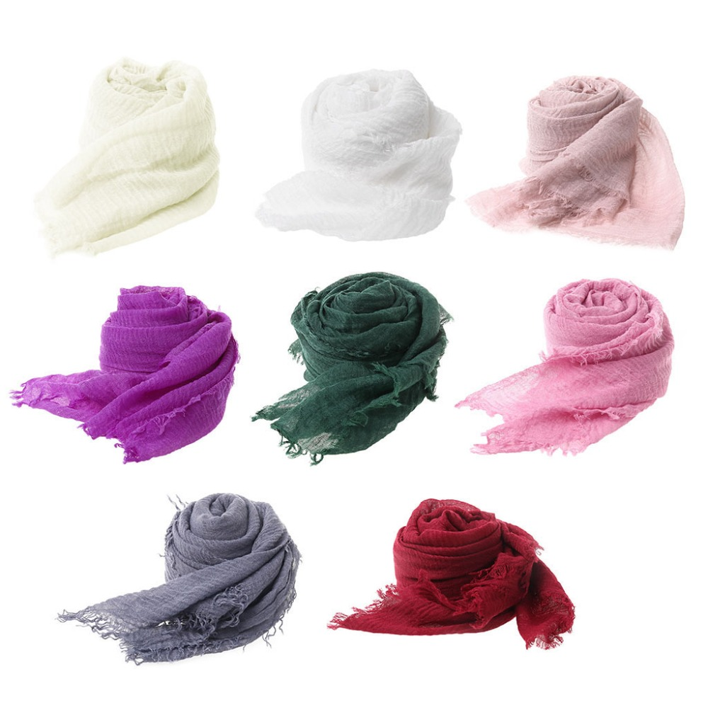 Tassels Scarf Fabric Soft Baby Photography Prop Filling Newborn <font><b>Cheesecloth</b></font> <font><b>Wrap</b></font> image