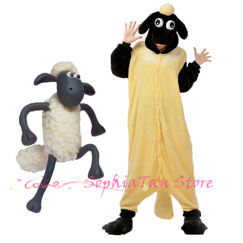 Animals Shaun The Sheep Onesie For Adult Women Men Unisex Flannel Cosplay Costume Pajamas For Halloween Christmas Dress Party