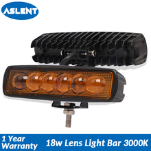 Aslent 6 inch 18W with Lens LED Bar for Offroad Car 4WD Truck Tractor Boat 4x4 SUV ATV 12V 24V Spot Light Work