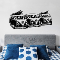 Home Decorative Vinilos Decorativos 3 Furgonetas Vw Surf Vinyl Wall Sticker Home Decor 58 130CM Wallpaper