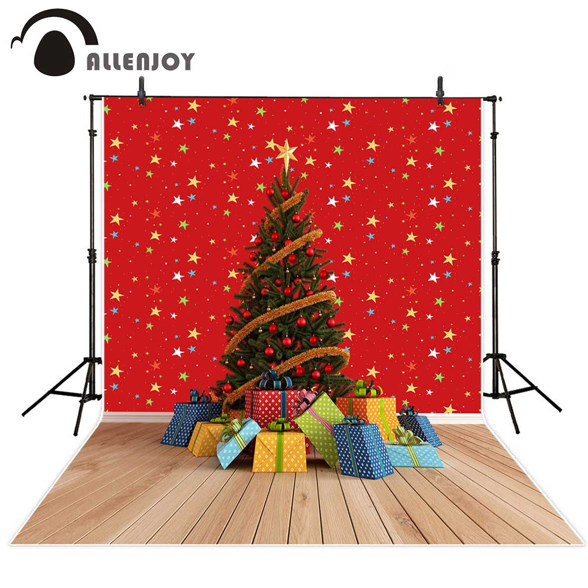 Allenjoy photography backdrop Christmas tree gifts red wall colorful stars professional background photo prop photobooth