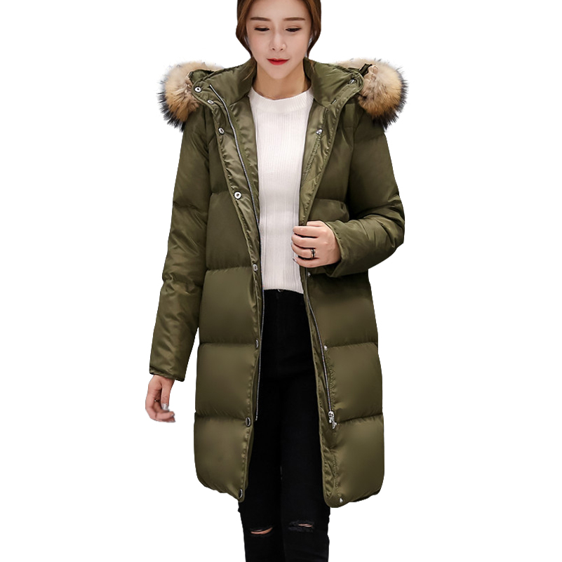 2017 Winter New Natural Raccoon Fur Down Jacket Removable Fur Women Slim Thicken Down Coat Parkas Female Long Snow Outerwears