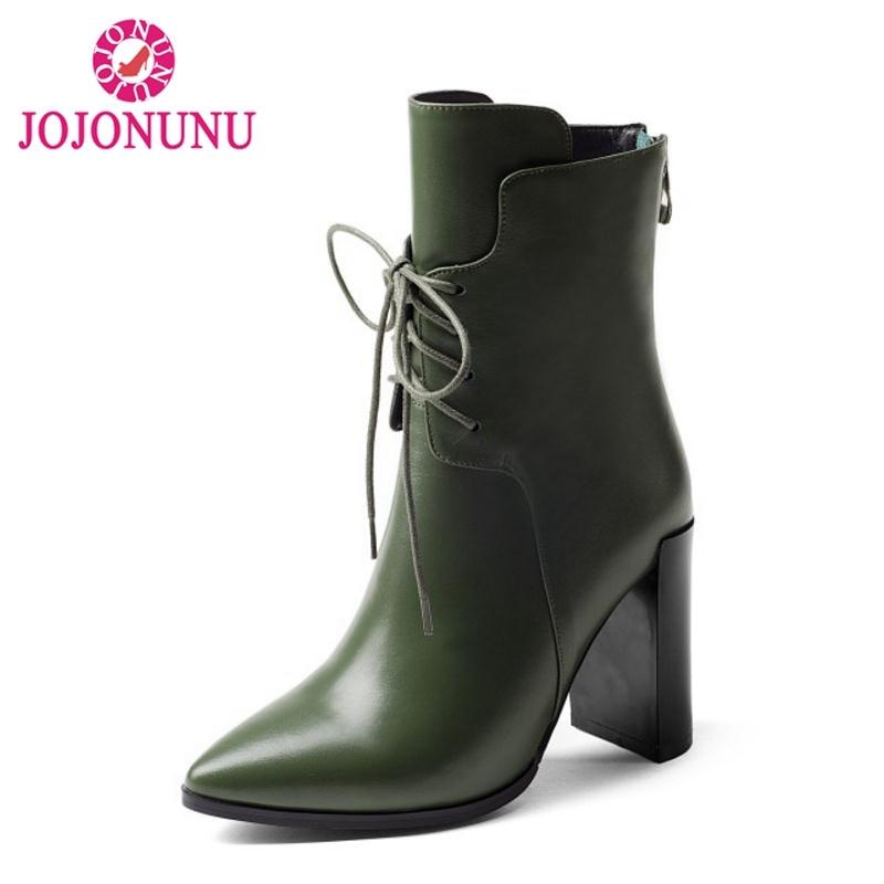 60688bd3 40 Tacón Lujo Invierno verde Mujeres Cálido Real Moda De Up 33 Lace Jojonunu  Tamaño Calzado Alto Mujer Zapatos Cuero Botas Negro PUFwzzpq