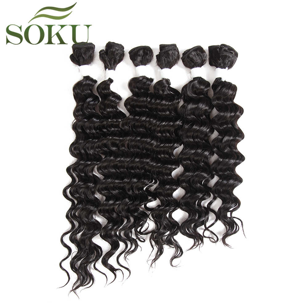 SOKU Blend Hair Bundles 16-20inch Deep Wave Hair Extensions 6Piece/Pack Synthetic Hair And Human Hair Mixed For Full Head
