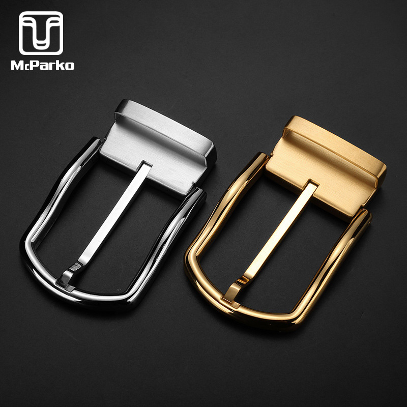 McParko Stainless Steel Belt Buckle Men Waist Belt Buckle Metal High Quality Pin Buckle 3.8cm Luxury Design Golden Silver Color