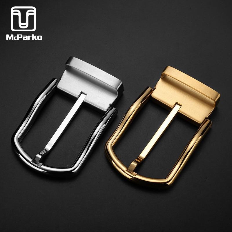 McParko Stainless Steel Belt Buckle Men Waist Belt Buckle Metal High Quality Pin Buckle 3.8cm Luxury Design Golden Silver Color