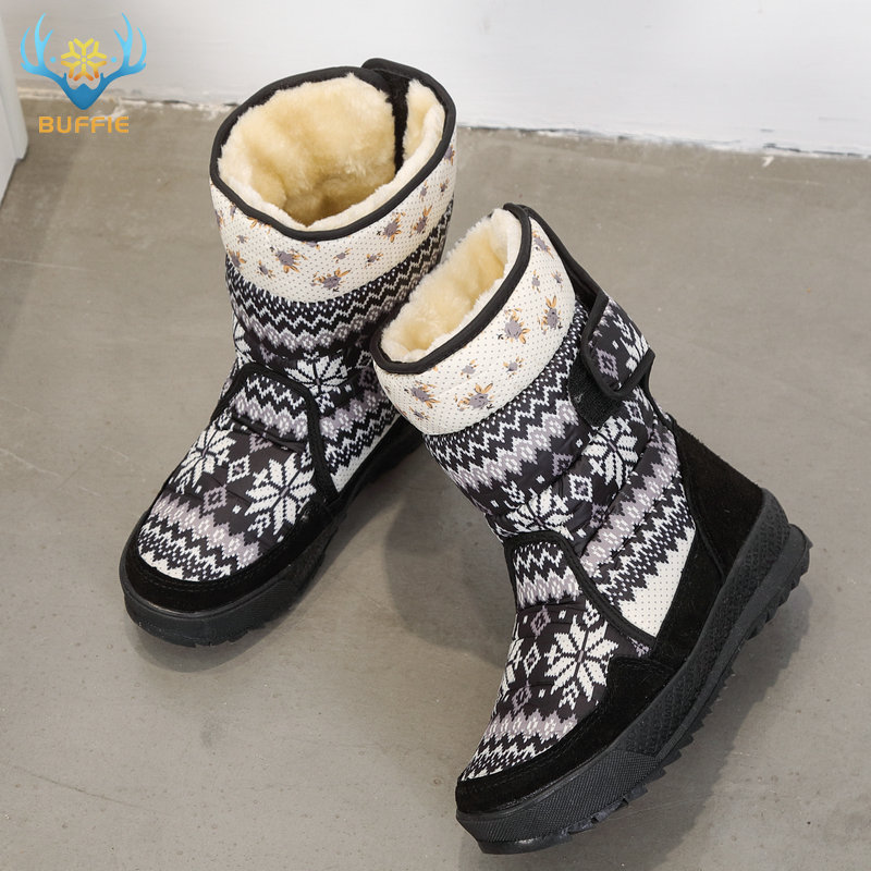 Image 1 - Printing nice winter warm shoes snowboot non slip Rubber outsole snowflake nice looking big plus size free shipping black flower-in Knee-High Boots from Shoes
