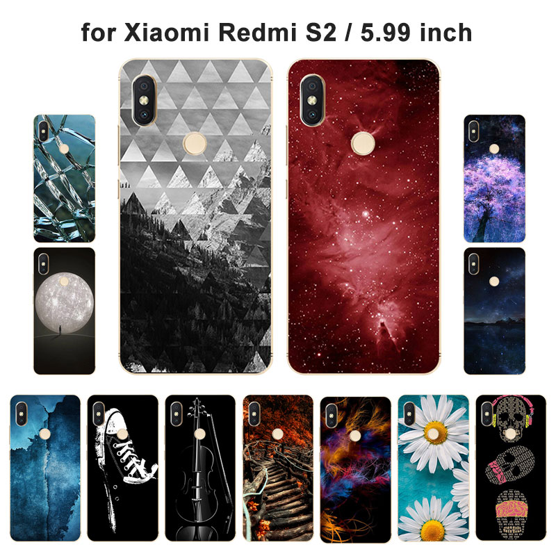 5.99 for Xiaomi Redmi S2 Back Cover Ultrathin Soft Silicone for Redmi S2 Transparent Full Protective Case TPU Scape Painted
