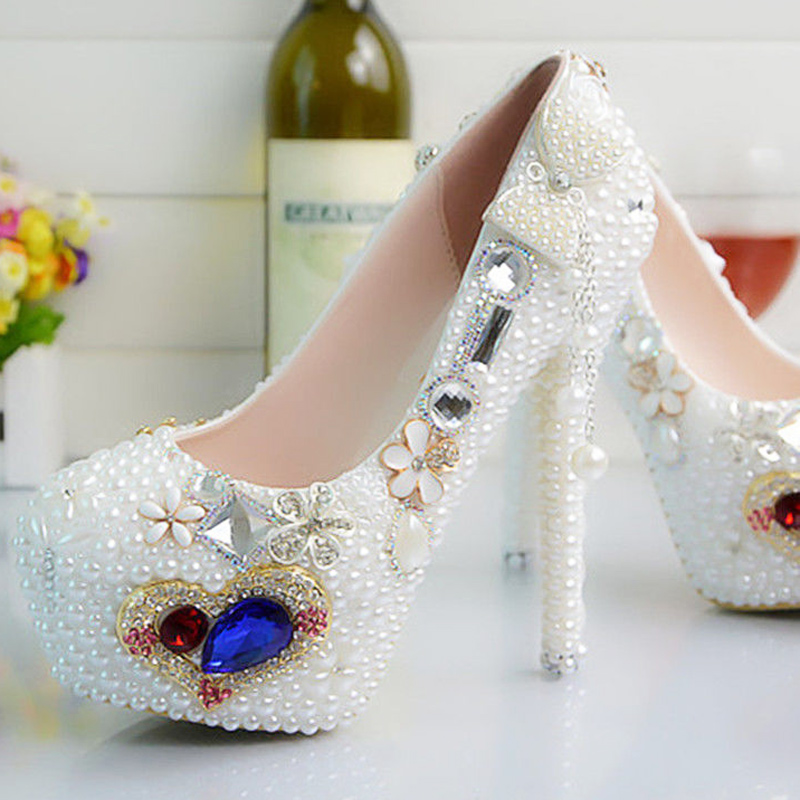 Pattini del progettista delle donne delle pompe delle signore sexy pattini a Cristallo del rhinestone fiore bianco tacchi alti donna scarpe da sposa - 5