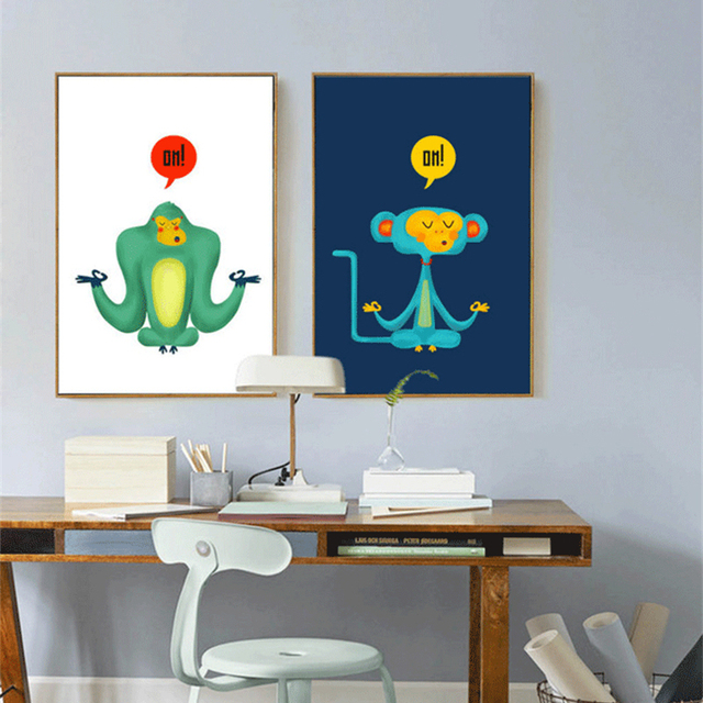 haochu modern meditation monkey animal canvas painting for kids room bedroom decor cartoon wall art poster - Monkey Bedroom Decor