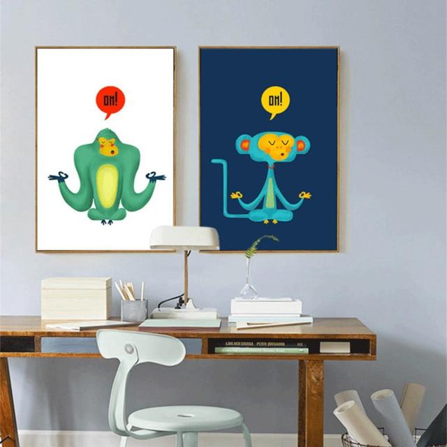 Haochu Modern Meditation Monkey Animal Canvas Painting For Kids