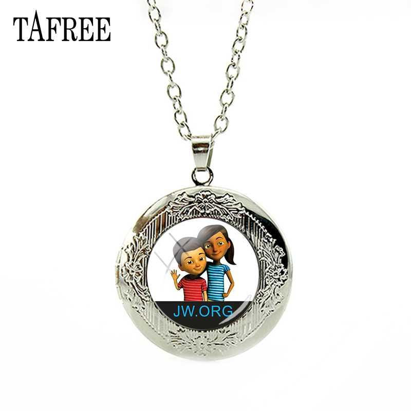 TAFREE Happy Girl & Boy Picture Locket Necklace JW.Org Decoration Pendant Chain Personalized Jewelry QF73