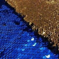 2FTX3FT 5mm sequin Backdrop Curtain 2pcs, Royal Blue to Orange Mermaid Fish Scale Sequin Fabric Wedding Decoration 60X90CM C0508