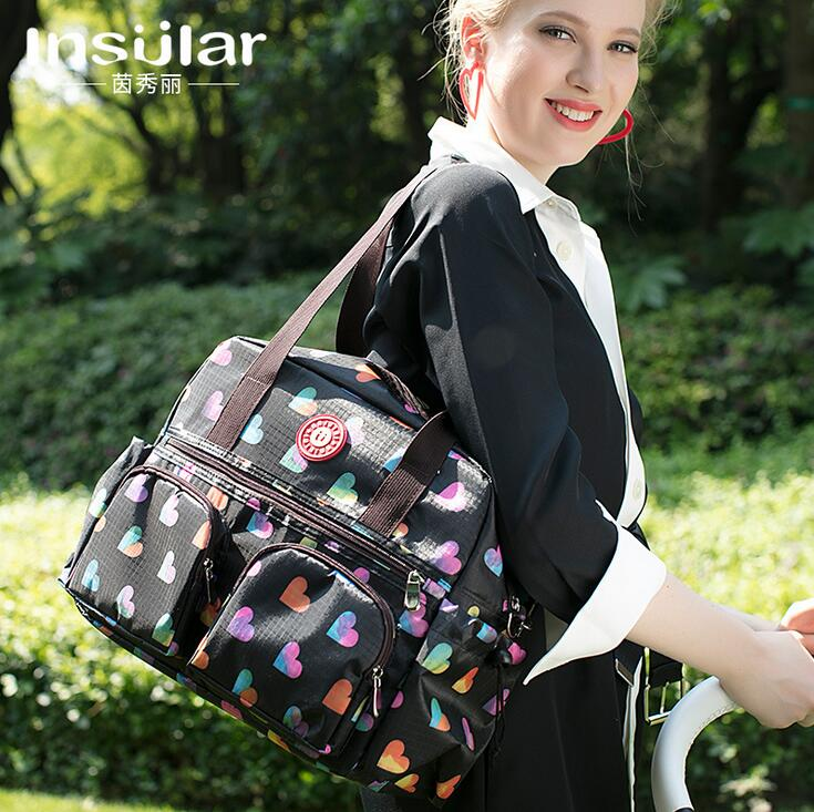 NEW Mommy Bag  Lovely Multicolored Baby Diaper Bag Large-Capacity Fashion Mother's Maternity Bag Baby Stroller Nappy Bag  6071