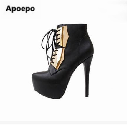 Apoepo sexy women ankle boots super thin heels 15 cm platform 4.5 cm pumps metal decor cross-tied lady boots nightclub shoes sexy supermodels catwalk shoes super high heels shoes 20 cm cos props nightclub paris fashion boots