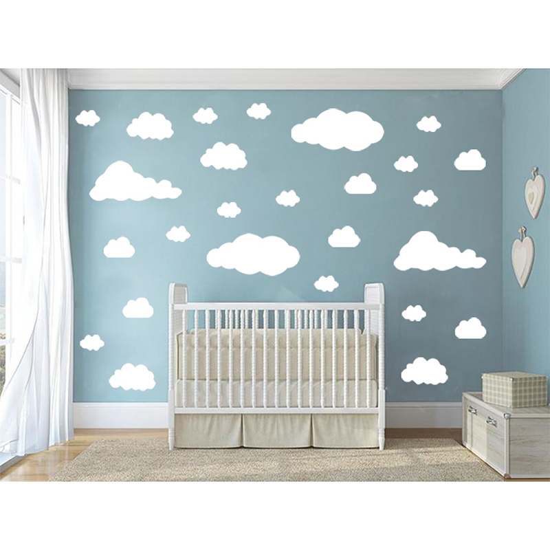 POOMOO, 31pcs/set DIY Big Clouds 4 Sizes Decals Removable Vinyl Wall Sticker Kids Room Decoration Art Home Mural Decor Stickers