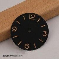 BLIGER 38.9mm Black Sterile Sandwich Watch Dial Luminous Marks Fit For ETA 6497 6498 Hand Winding Movement D12