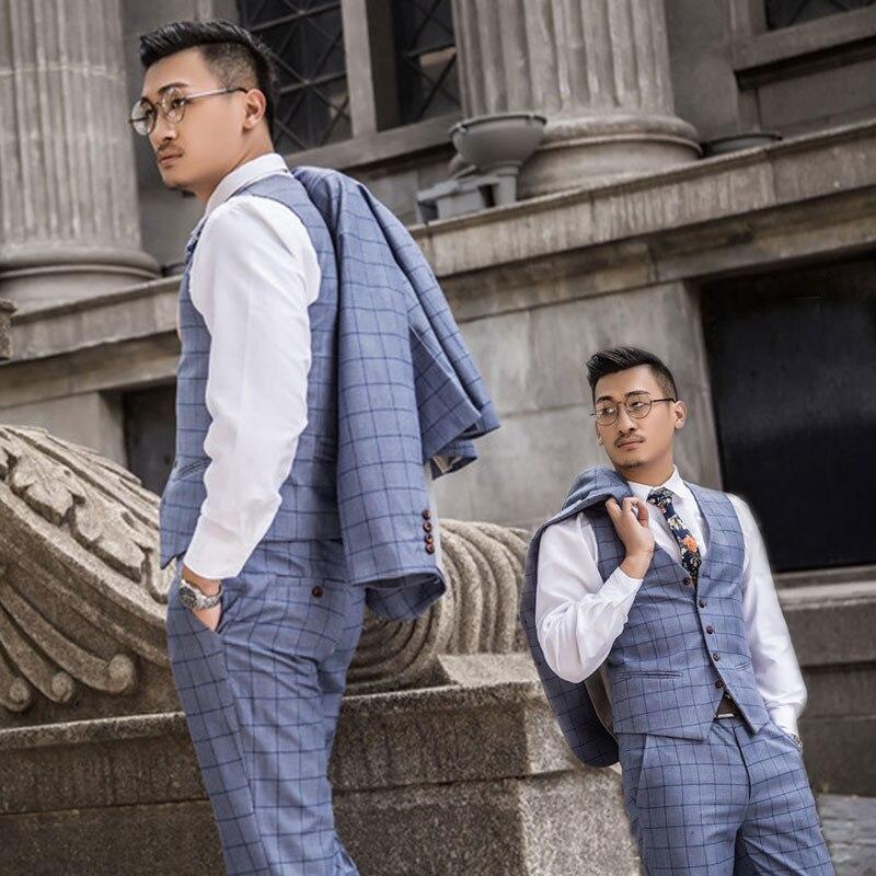 veste Trois 2 pièce Manteau Vêtements Mode D'affaires 3 Gilet 4 Nouveaux Hommes 1 De Costume Photo Mince Plaid Printemps Pantalon Casual Noir rAH0Fr