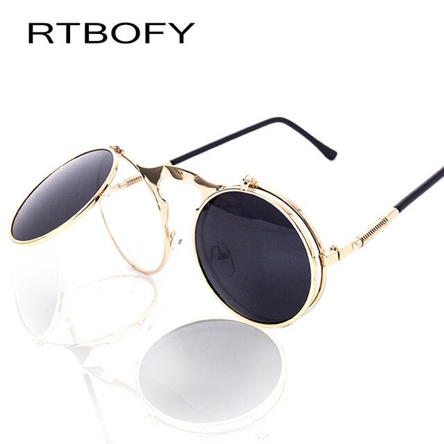 2002a50b94 RTBOFY VINTAGE STEAMPUNK Sunglasses round Designer steam punk Metal Women  Coating Sunglasses Retro CIRCLE SUN GLASSES
