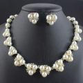 Bride Wedding For Women Jewelry Sets Simple Simulated Pearl Jewelry Crystal Necklace Earrings  Sets