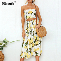 Missufe Smocked Strapless Summer Long Dress 2 Pieces Set Beach Tunic 2018 Floral Print High Waist