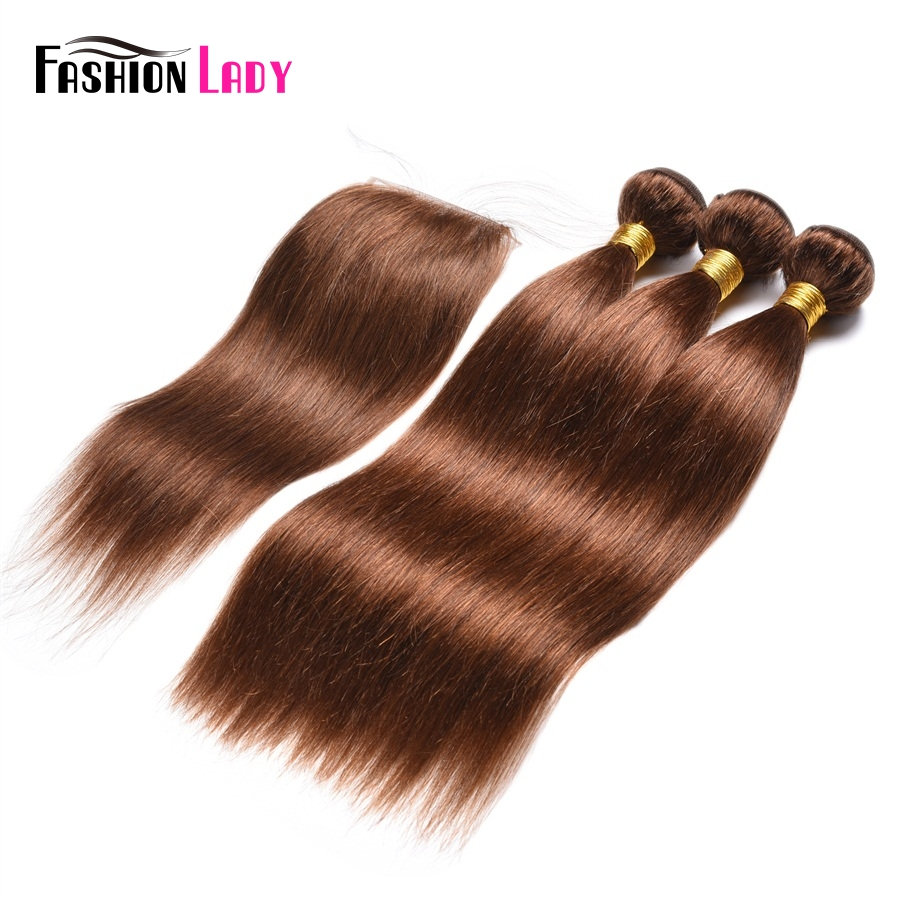 Fashion Lady Pre-Colored Indian Human Hair Weave Bundles 3pcs With Lace Closure 4# Dark Brown Color Hair Extension Non-Remy