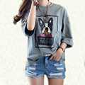 2017 5XL 4XL 3XL Summer Korean Style Women Casual Loose Short sleeve Letter Dog Print Dark Gray Slit Plus size Basic T-shirt Top