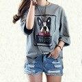 2017 5XL 4XL 3XL Verão Estilo Coreano Mulheres Casuais Solta Curto manga Carta Cinza Escuro Fenda Plus Size Básica T-shirt da Cópia Do Cão Top