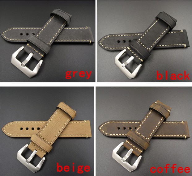 1PCS 20MM 22MM 24MM 26MM genuine leather Crazy horse leather Watch band watch strap man watch straps black coffee grey -9132 20mm 22mm 24mm 26mm leather watch strap watch band man watch straps green orange beige with stainless steel silver buckle