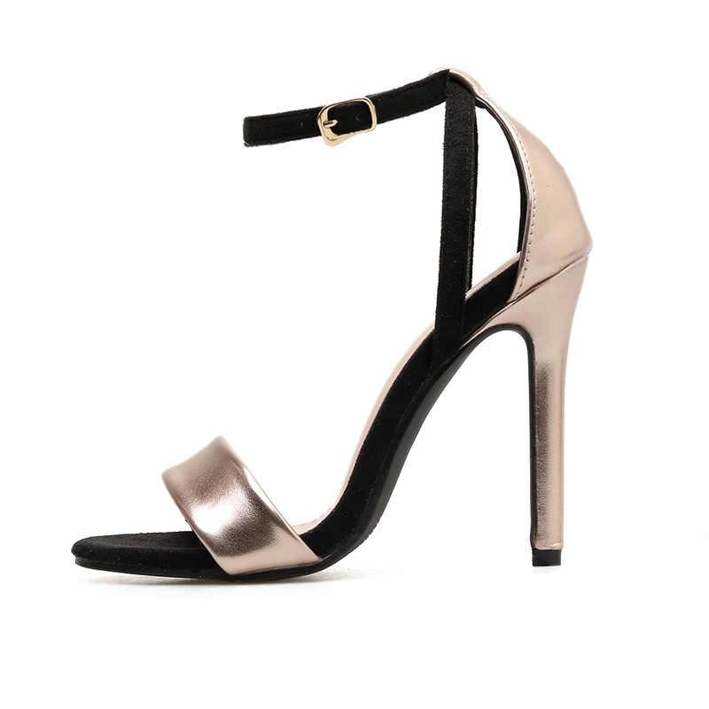 2019 grande taille 11.5cm talons hauts bout ouvert sandales sangle or dame chaussure fétiche Orange décapant été qualité luxe Design pompes