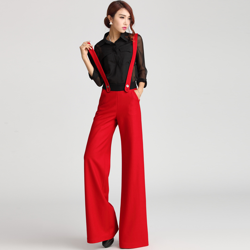 7abcc45f7e US $110.63 19% OFF|Free shipping 2015 braces trousers woolen fashion bib  pants wide leg pants female trousers pants feet-in Pants & Capris from ...
